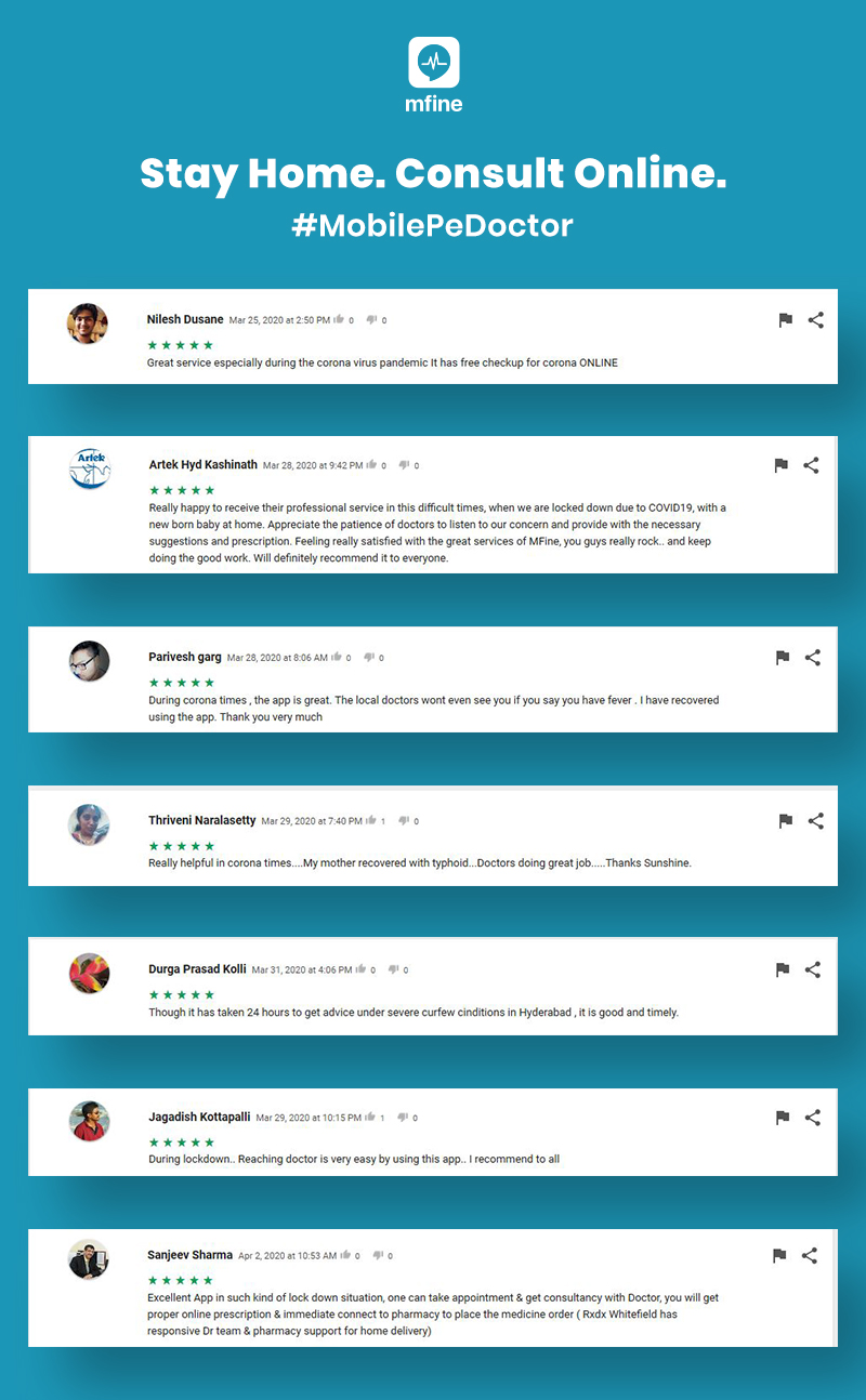 online consultation stories testimonials mfine